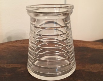 Vintage Etched Cut Glass Container Jar Vase with Circular Ringed Beehive or Band Design