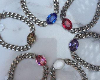 ROCK CANDY Silver Bracelet || Oval Swarovski Crystal Bracelet || Stackable || Arm Stack || Curb Chain || Silver Bracelet || Stacking