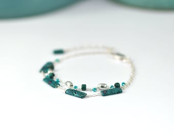 Sterling silver and celadon green bracelet 'Dasya' with delicate sea urchins patterns