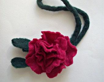 felt necklace, felt brooch,felt flower