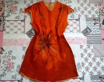 Felt Dress  Foxy   with beaded embroidery