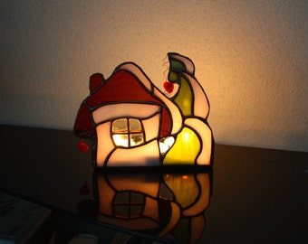 Stained Glass Candle Holder Fairytale House