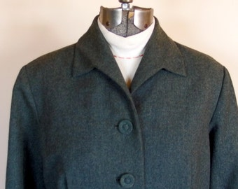 Womens 1960 Vintage Heather Gray Green Wool Jacket