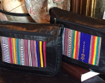 Black Leather and African Fabric Messenger Bag