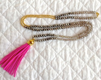 Neon Pink Leather Tassel Necklace