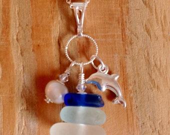 Blue cluster necklace