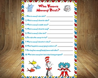Dr. Seuss Who Knows Mommy Best, Dr. Seuss Baby Shower Game, Dr. Seuss Baby Shower, Seuss Baby Shower Game, Who Knows Mommy Best