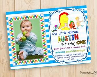 Monster Birthday Invitation, Monster Invitation, Photo Birthday , Monster Bash, Boy First Birthday, 1st Birthday, 2nd Birthday