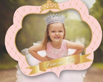 pink and gold princess photo booth prop frame crown baby shower