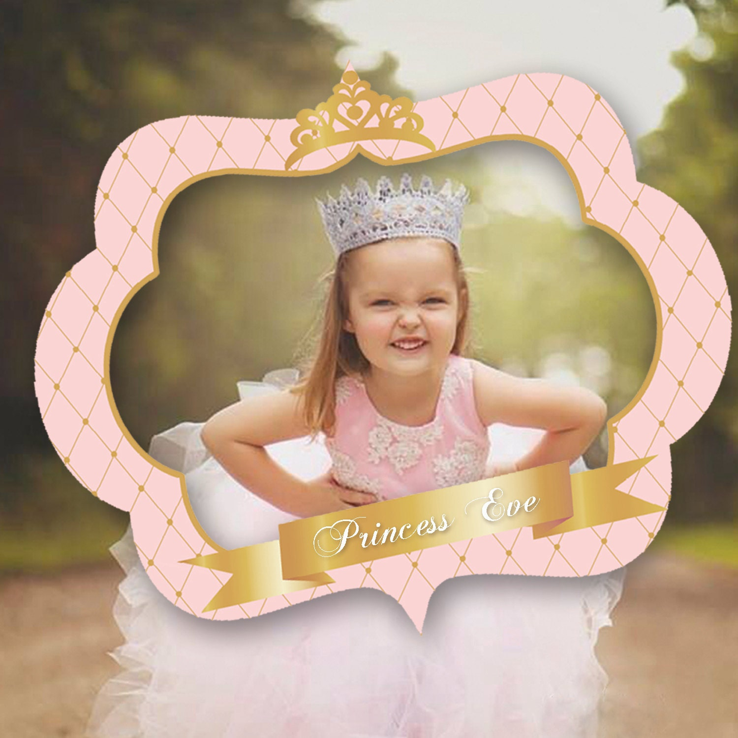 pink and gold princess photo booth prop frame crown baby