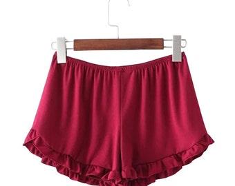 Red Ruffle Handmade Shorts // Beach // Womens Clothing