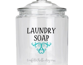 Laundry Soap | Suds | Vinyl Decal | Jar Label | FREE SHIPPING | 30 Colors