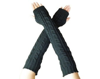 Knitted Stretchy Long Sleeve Fingerless Gloves Arm Warmers