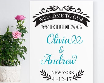Leaf Personalized Welcome Wedding Sign (ppd712)