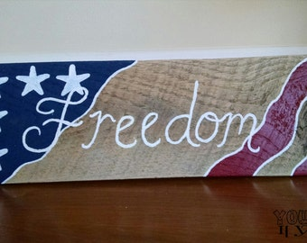 Freedom Hand-Painted Reclaimed Wooden Sign