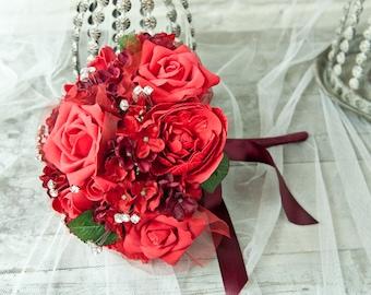 Artificial Foam Rose Wedding Flowers Large Red Brides Bouquet