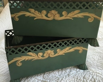 2 Vintage Green Tole Planters with inserts
