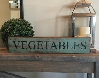 Primitive Antique Sign - Vegetables - Reclaimed Barn Wood, antique primitive look,rustic sign,farmhouse antiques,primitive decor