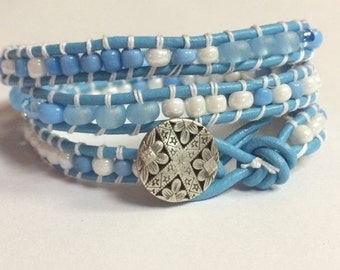 Leather Wrap Bracelet, Blue and White Beaded Leather Triple Wrap Bracelet