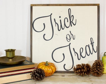 Trick or Treat Hand Painted Sign | Halloween wall art | seasonal decor | fall decor | October decor | Halloween decor