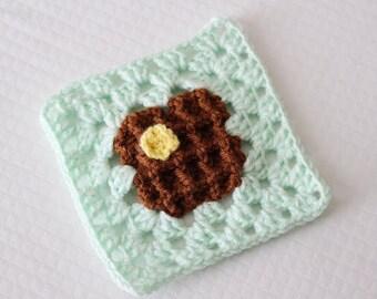 Crochet Waffle Granny Square PATTERN: Bake Shop Blanket Series pdf instant digital download