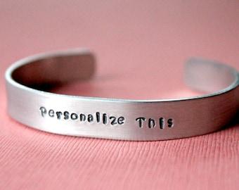 Personalized Bracelet, Stamped Bracelet, Hand Stamped Bracelet, Stamped Cuff Bracelet, Custom Bracelet, Gift Under 10