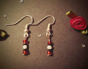 Red,Black & White Beads silver plated dangle earrings