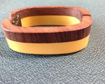 Vintage butterscotch Bakelite & wood clamper bracelet