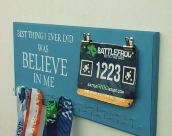 Running Medal Holder, Medal Display -23 Hooks-Believe In Me-12 Colors-With Bib Holders