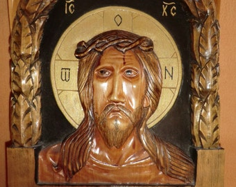 Christ with crown of thorns  Art Wood Carving Handmade for gift or  interior / decor/ religion