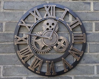 Large Wall Clock Handmade Wooden 18 inches Gold color