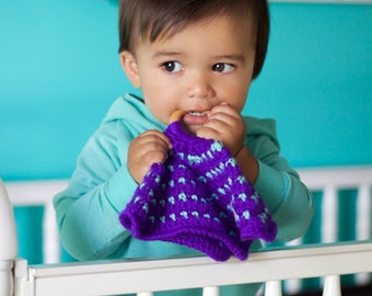 The Snuggly Teether Lovey in Purple/Blue