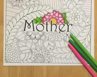 Coloring Page, Mother Coloring Page Digital Download