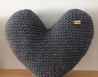 Handmade Hand Knitted Dark Grey Heart Shaped Decorative Cushion