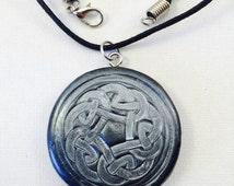 Celtic Pewter Effect Pendant // Polymer Clay