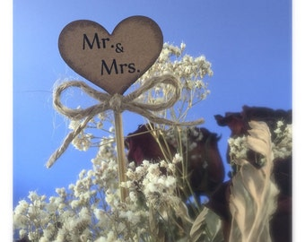 Rustic Wedding Floral Centerpiece Picks (6 pieces)