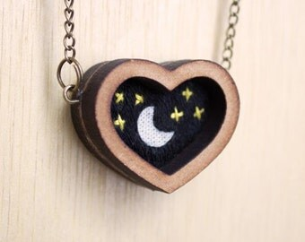 Embroidered Night sky pendant. Moon and stars miniature embroidered necklace