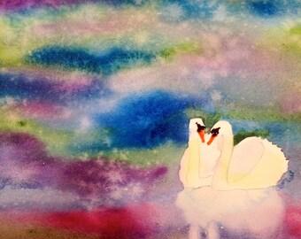 Love Birds - Original watercolor art