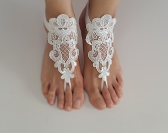 wedding shoes, summer shoes,beach shoes, barefoot sandals,ivory lace sandals,wedding sandals,foot jewelry, free shipping!