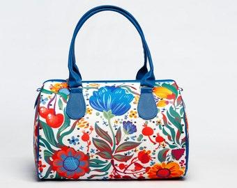 Bright Summer Handbag with Flower Print, Women Fashion Handbag, Unique Designer Handbag for Ladies, Fabric Barrel Bag, 5068