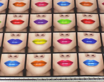 Bright Lips 100% Cotton High Quality Fabric Material *2 Sizes*
