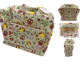 PVC Owls Trees Taupe Sewing Machine Bag 20x43x37cm