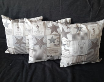 """Cushion cover patterned """"stars"""" in beige and taupe"""
