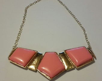 Pink Bib Chocker Necklace - Gold Plated
