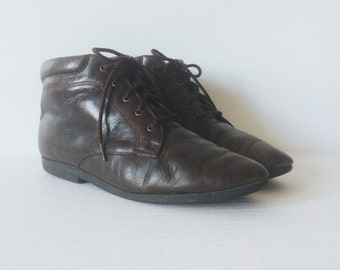 Vintage Leather Ankle Boots Size 8