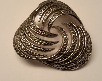 Vintage, Marcasite Pin, Heavy & Very Modern, 'VOGUE Jwly' clearly marked on back