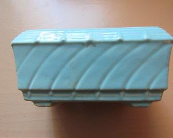 Blue Pottery Planter Vintage Aqua Shabby Chic Teal Robin's Egg Baby Blue