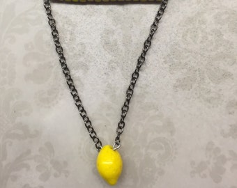 Lemon Unique Beaded Silver Necklace