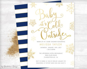 Baby it's Cold Outside Baby Shower Invitation plus Thank You Card Printable