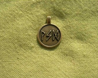 "Viking Runes Pendant. Futhark Runescript ""Thinking"". Scandinavian magic Runes amulet."